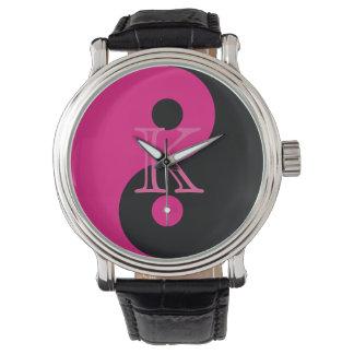 Monogram Pink and Black Yin Yang Wrist Watch