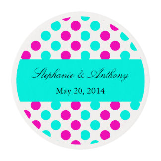 Monogram Pink and Blue Polka Dots Wedding Edible Frosting Rounds