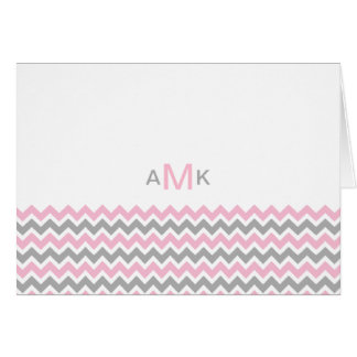 Monogram Pink and Gray Chevron Note Cards