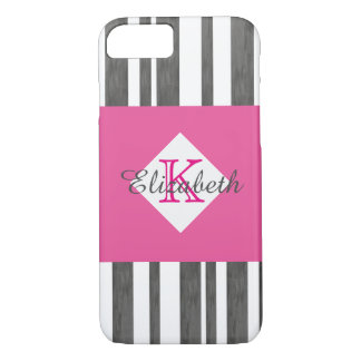 monogram pink and gray stripes design iPhone 8/7 case