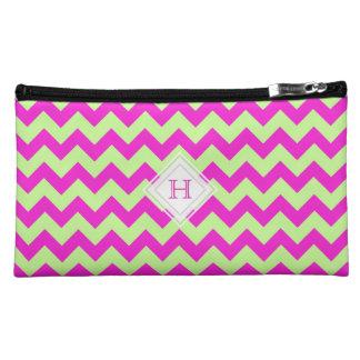 Monogram: Pink And Green Chevron Pattern Bag
