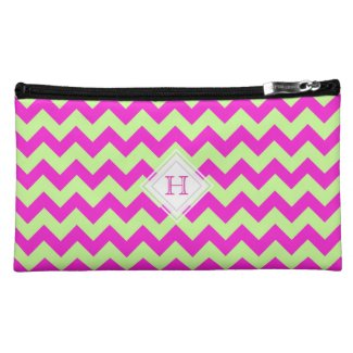 Monogram: Pink And Green Chevron Pattern Bag Makeup Bag