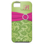 Monogram Pink and Green Damask iPhone 5 Vibe iPhone 5 Covers