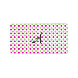 Monogram pink and green polka dots address label