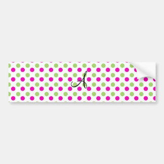 Monogram pink and green polka dots bumper stickers