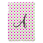 Monogram pink and green polka dots cover for the iPad mini