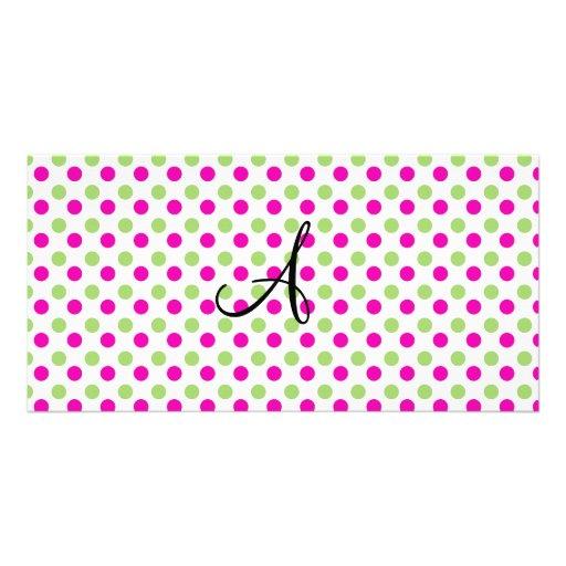 Monogram pink and green polka dots photo card