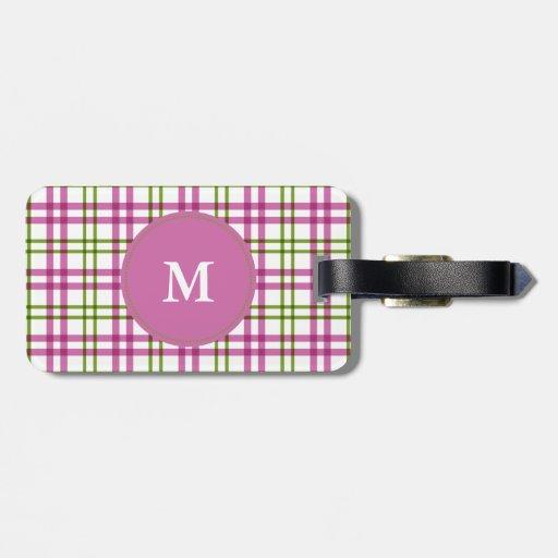 Monogram Pink and Green Tartan Pattern Luggage Tag