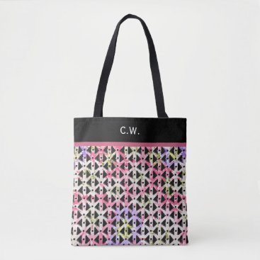 Aztec Themed Monogram pink and mauve diagonal aztec weave tote bag