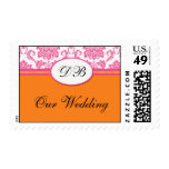 Monogram Pink and Orange Damask Wedding Postage
