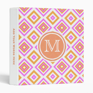 Monogram: Pink And Orange Diamond Print Binder