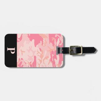 Monogram Pink and Peach Camo Camouflage Black Luggage Tag