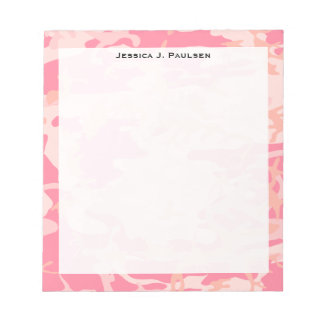Monogram Pink and Peach Camouflage Notepad