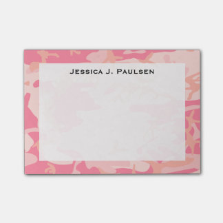 Monogram Pink and Peach Camouflage Post-it® Notes