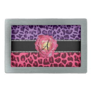 Monogram pink and purple leopard pattern pink rose belt buckle