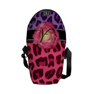 Monogram pink and purple leopard pattern pink rose messenger bag