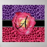 Monogram pink and purple leopard pattern pink rose print