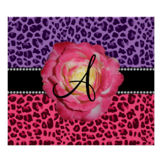 Monogram pink and purple leopard pattern pink rose poster