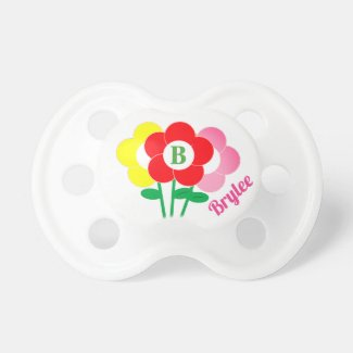 Monogram Pink and Red Flowers Baby Girl Pacifier