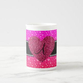 Monogram Pink and red hearts Bone China Mugs