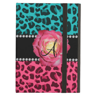 Monogram pink and turquoise leopard pattern rose iPad air covers