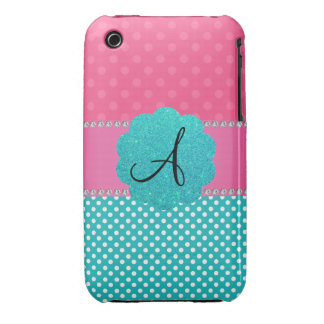 Monogram pink and turquoise polka dots Case-Mate iPhone 3 case