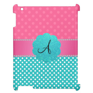 Monogram pink and turquoise polka dots iPad case
