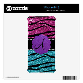 Monogram pink and turquoise zebra stripes iPhone 4S decals