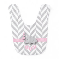 Monogram Pink And White Chevron Baby Elephant Baby Bib