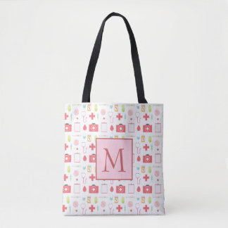 Monogram Pink and White Nurse Tote Bag