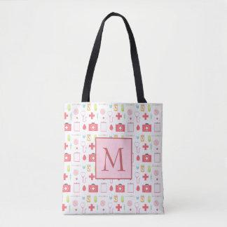 Monogram Pink and White Nurse Tote Bag