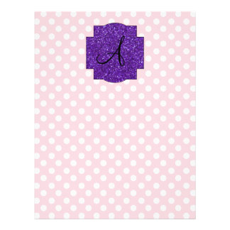 """Monogram pink and white polka dots 8.5"""" x 11"""" flyer"""