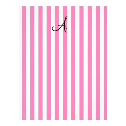 Monogram pink and white stripes flyer design