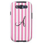 Monogram pink and white stripes galaxy SIII cases