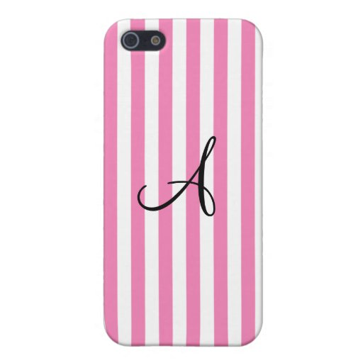 Monogram pink and white stripes iPhone 5 case