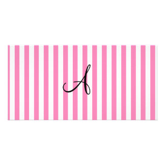 Monogram pink and white stripes photo card template