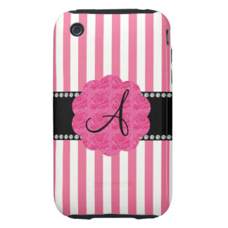 Monogram pink and white stripes pink roses iPhone 3 tough cases