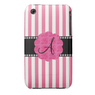 Monogram pink and white stripes pink roses iPhone 3 covers