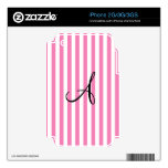 Monogram pink and white stripes skin for iPhone 2G