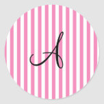 Monogram pink and white stripes sticker