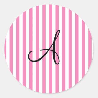 Monogram pink and white stripes sticker