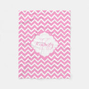 Personal name Monogrammed Pink And White Zig zag Chevron monogrammed blankets