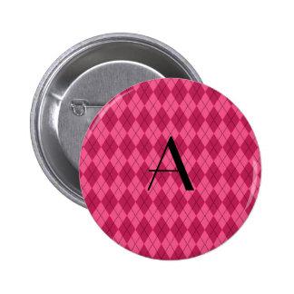 Monogram pink argyle 2 inch round button