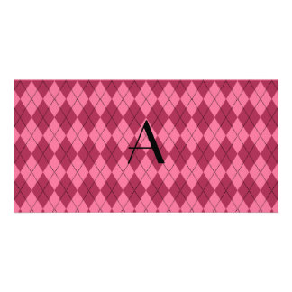 Monogram pink argyle photo card