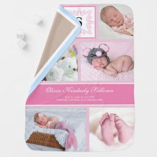 Monogram Pink Baby Girl Photo Collage Baby Blanket