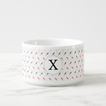Monogram Pink birds with hearts Bowl