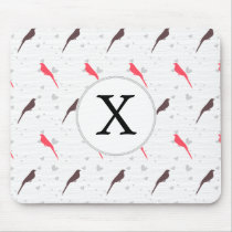 Monogram Pink birds with hearts Mouse Pad