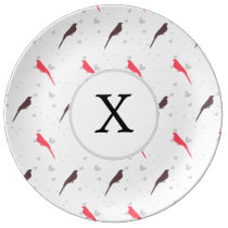 Monogram Pink birds with hearts Plate