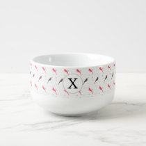 Monogram Pink birds with hearts Soup Mug