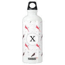 Monogram Pink birds with hearts Water Bottle